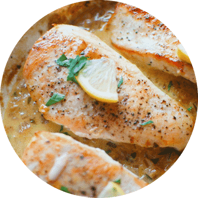 One Skillet Chicken with Creamy Lemon Garlic Sauce