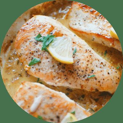 One Skillet Chicken with Creamy Lemon Garlic Sauce