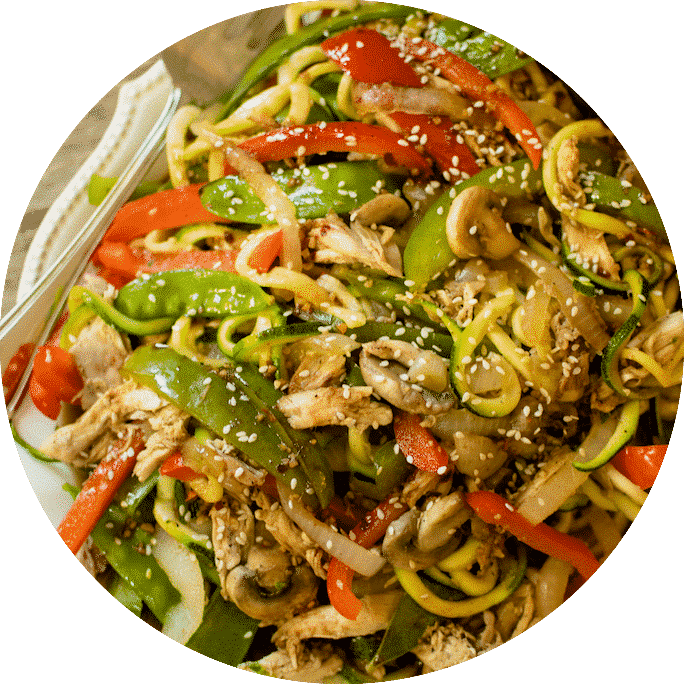 Healthy Dinner: Asian Chicken Vegetable Zucchini Noodles.