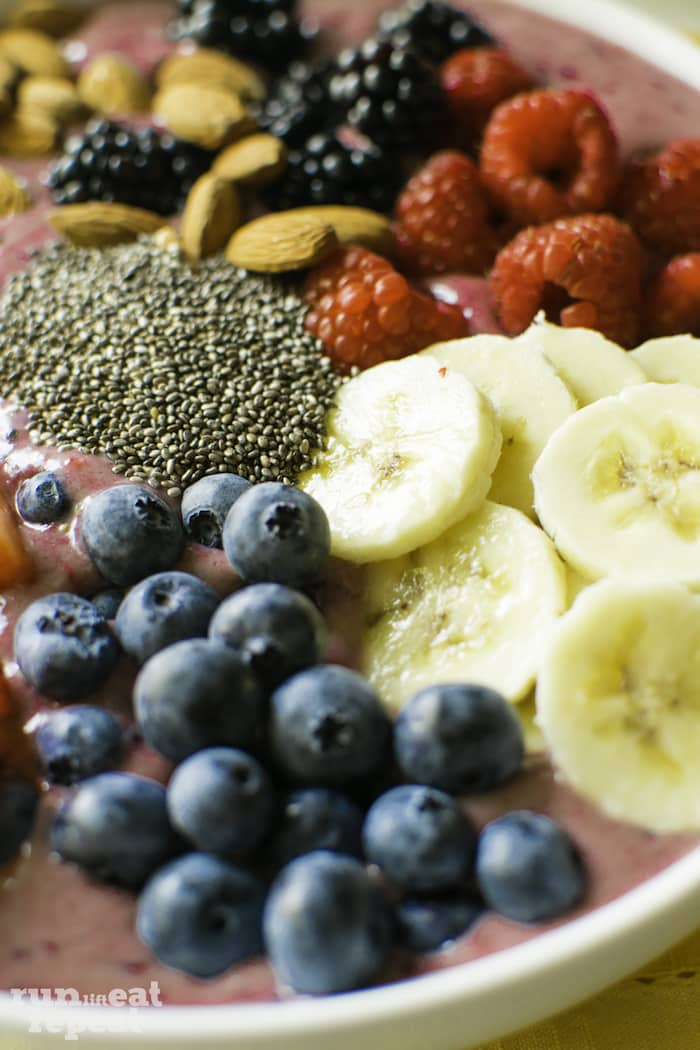 A smoothie filled with protein and berry loaded. Pure goodness. Find it on runlifteatrepeat.com.