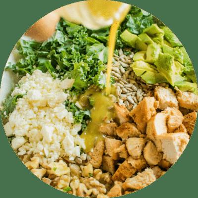 Quinoa, Kale & Chicken Salad.
