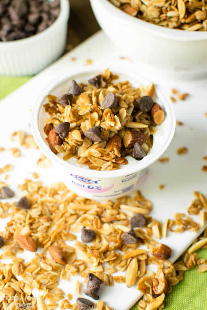"""Simple, crunchy granola exploding with vanilla flavor. Ditch the store-bough and make this """"feel good"""" granola ASAP! Find it at runlifteatrepeat.com!"""
