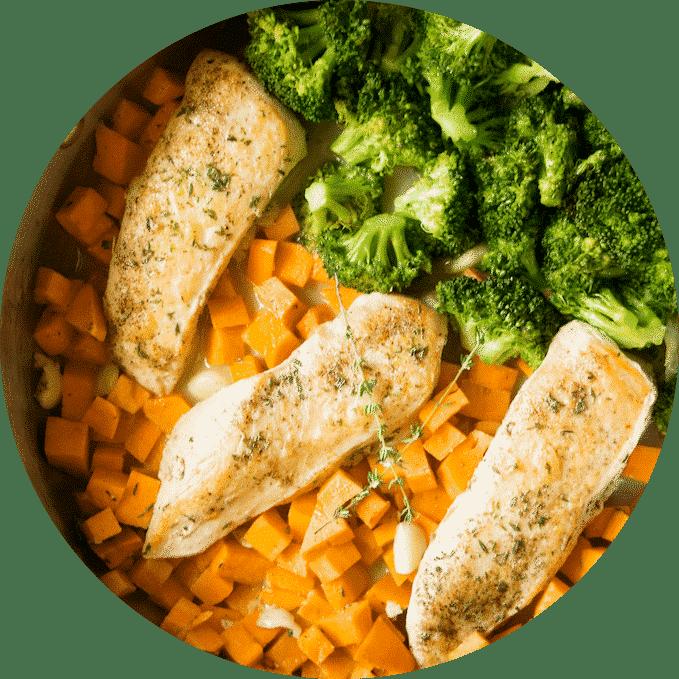 Skillet Chicken, Veggies & Sweet Potatoes with Creamy Light Garlic Sauce.