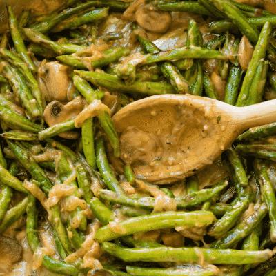 Healthy Roasted Creamy Green Bean Casserole