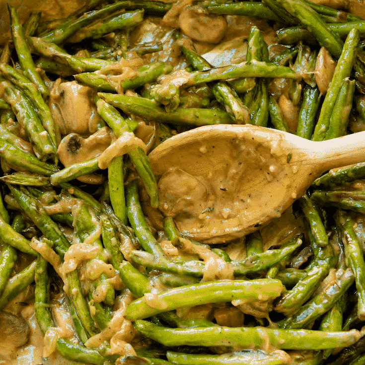 Healthy Roasted Creamy Green Bean Casserole