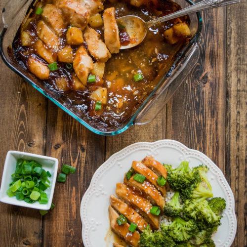 Easy Healthier Baked Pineapple Teriyaki Chicken.