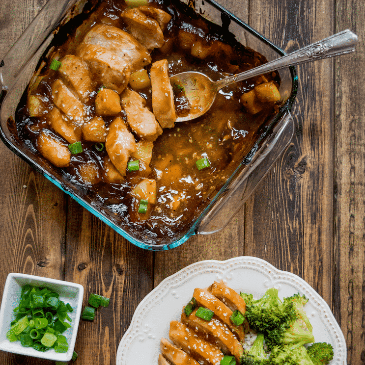 Easy Healthier Baked Pineapple Teriyaki Chicken.