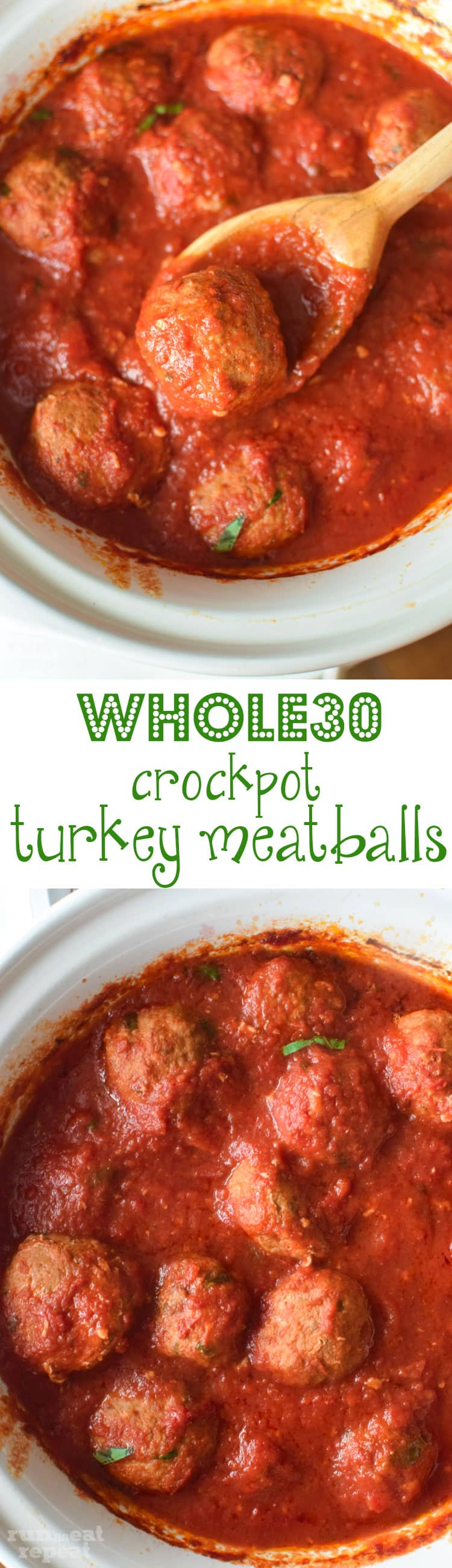 This is my favorite recipe for crockpot turkey meatballs— spiced just right, perfectly tender, packed with flavor, and incredibly simple to make! And Whole30 approved! Find the recipe at runlifteatrepeat.com.