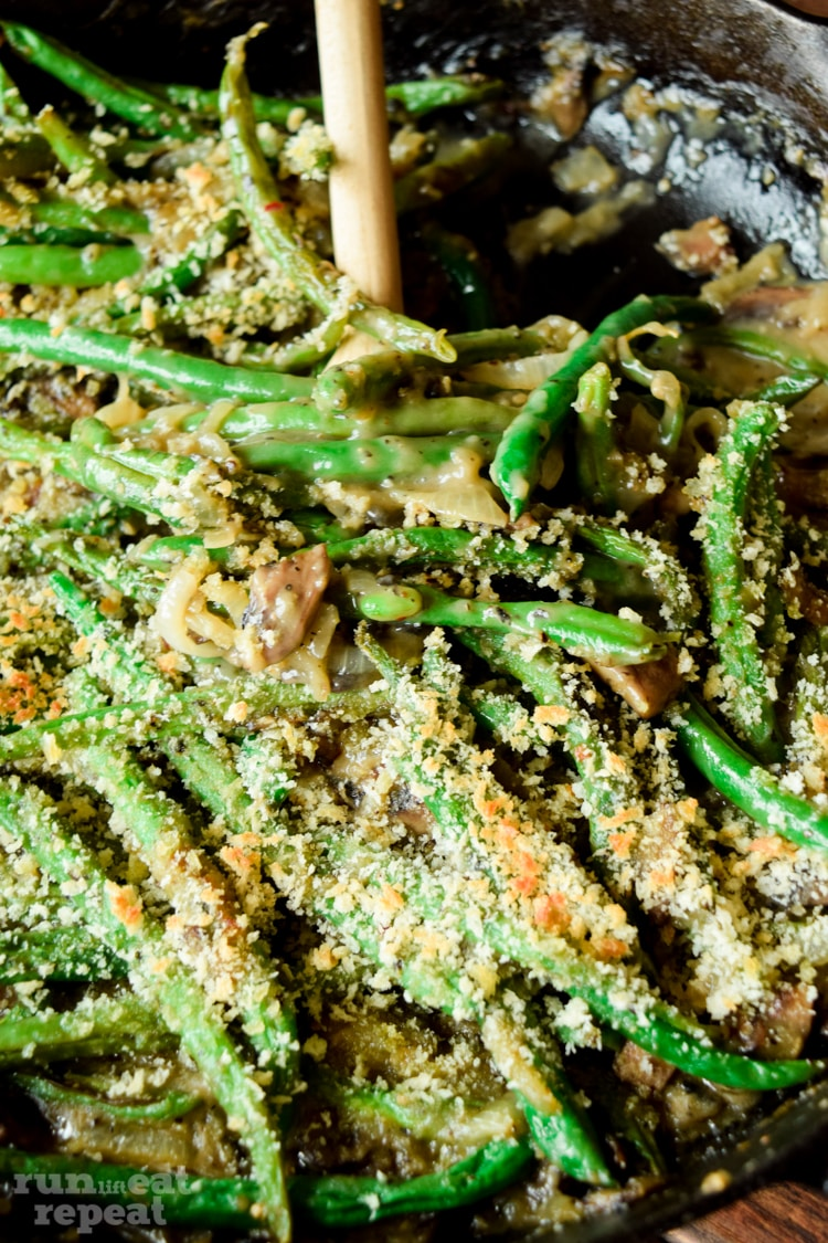 Enjoy this creamy, comforting green bean casserole made completely from scratch. And you'd never know that it's dairy free! Find the recipe at runlifteatrepeat.com!