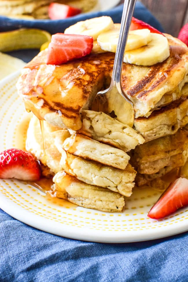 Fluffly 'n light pancakes loaded with the add-ins of your choice! They don't even taste gluten-free or dairy-free!