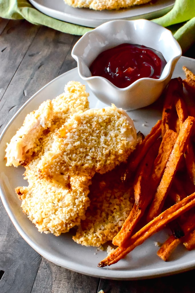 Extra crispy chicken fingers that are baked, not fried and incredibly simple!