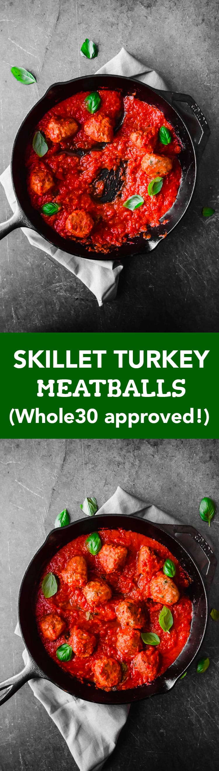 This is my favorite recipe for classic turkey meatballs in a skillet— perfectly spiced and hardly any work! Also Whole30 approved!
