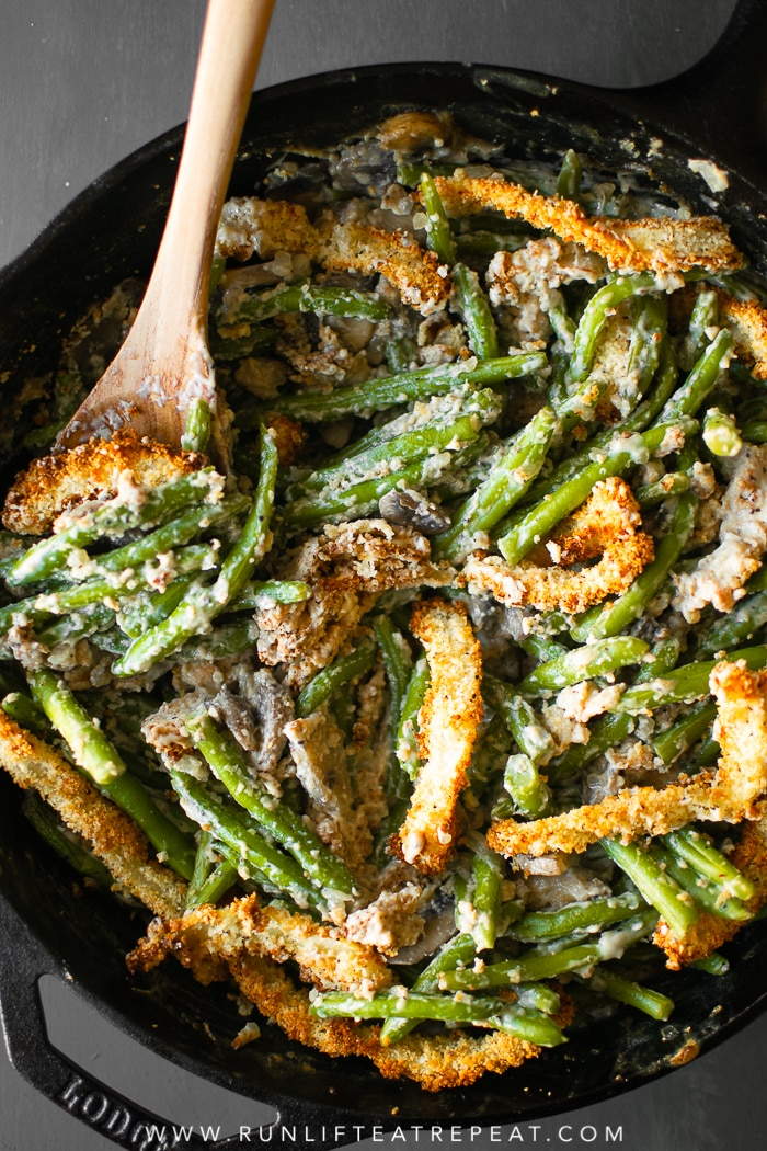This creamy green bean casserole is made completely from scratch — it's the side dish that your guests will rave about! #casserole #greenbean #recipe #thanksgiving #holiday #dairyfree