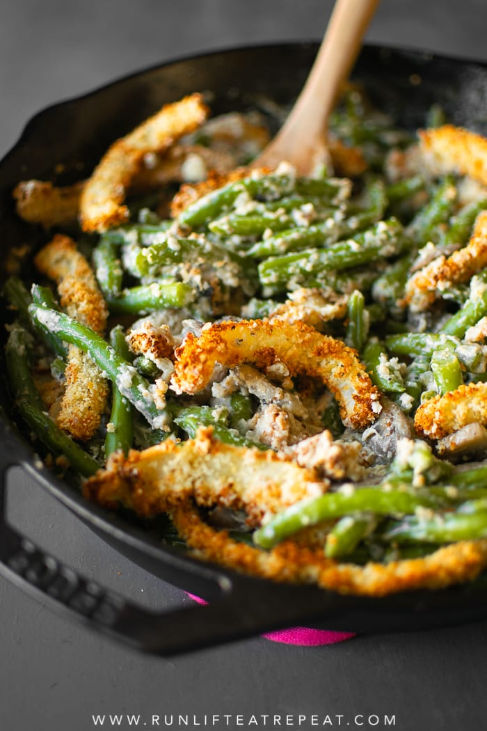 This creamy green bean casserole is made completely from scratch— it's the side dish that your guests will rave about! #casserole #greenbean #recipe #thanksgiving #holiday #dairyfree