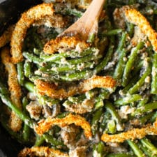 This creamy green bean casserole is made completely from scratch — it's the side dish that your guests will rave about! Find the recipe at runlifteatrepeat.com #casserole #greenbean #recipe #thanksgiving #holiday #dairyfree