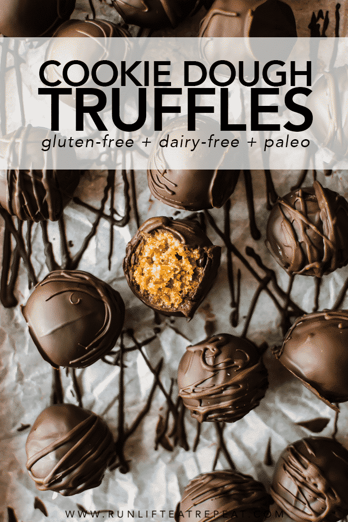Just one bowl and minimal ingredients to make these no-bake cookie dough truffles. Ready in less than 30 minutes! Recipe on runlifteatrepeat.com. #truffles #paleo #cookiedough #glutenfree #dairyfree