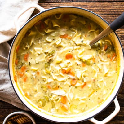 Lightened-Up Creamy Chicken Noodle Soup.