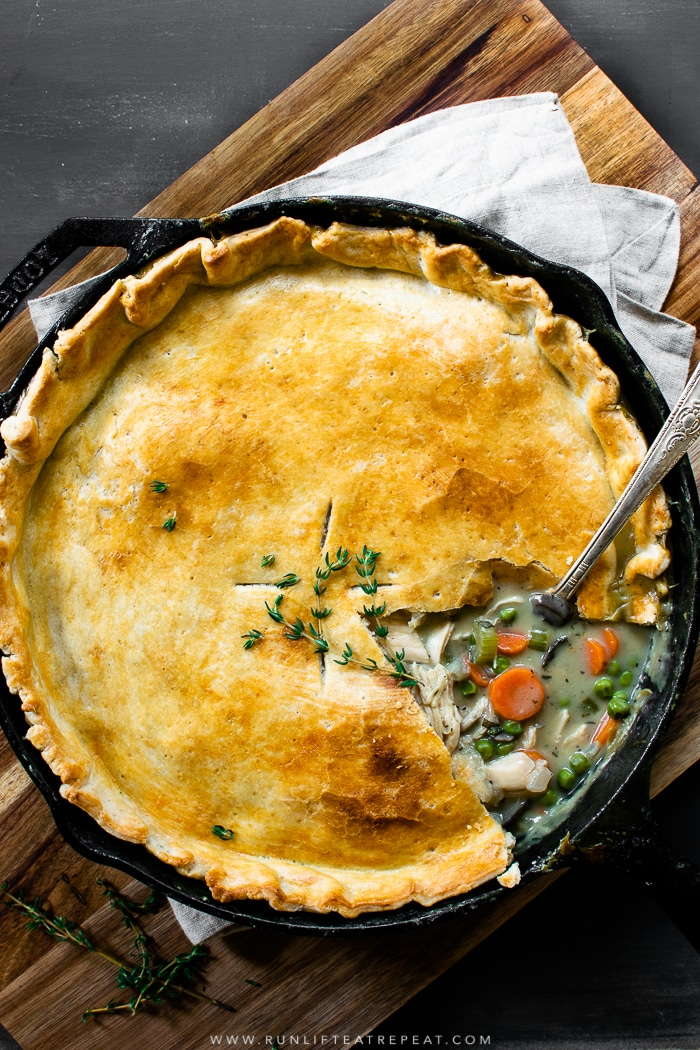 It's a 1 pan pot pie! This easy recipe is a family favorite for using up leftover chicken for Thanksgiving turkey. Find the recipe at runlifteatrepeat.com. #dinner #leftovers #turkey #recipes #easy