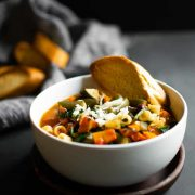 This minestrone soup is a favorite for obvious reasons. It's hearty, filled with tons of vegetables, and packed with flavor. It's the soup recipe that you'll make again and again! #soup #dinner #recipe #easy #healthy