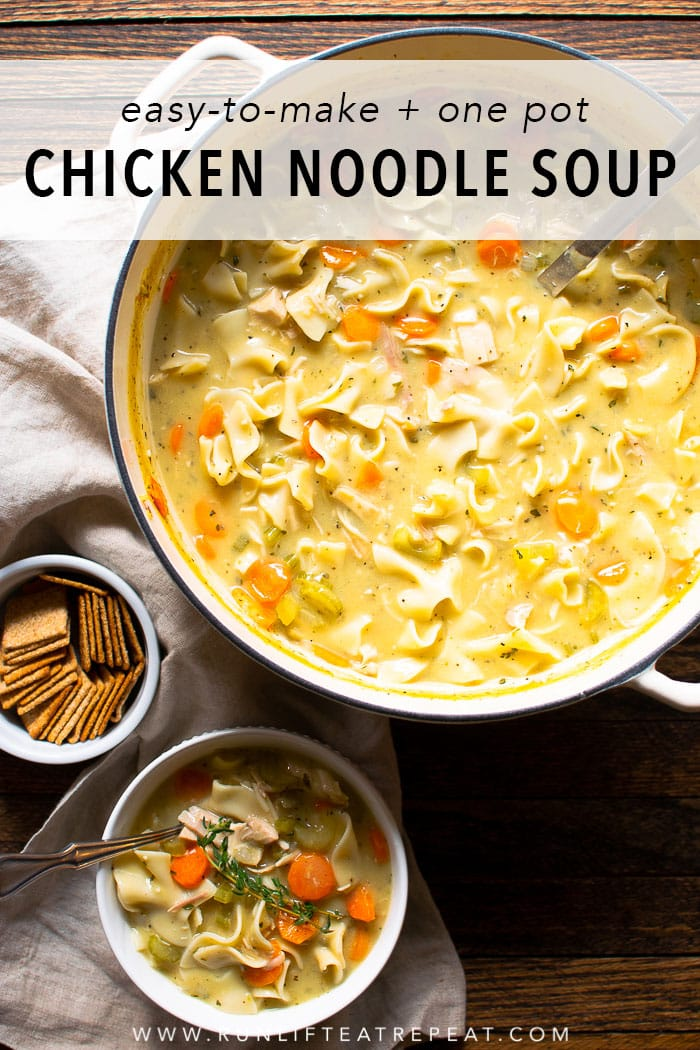 This lightened-up creamy chicken noodle soup is not only easy to make but it's just as comforting as the classic and only 200 calories! Find the recipe at runlifteatrepeat.com. #soup #dinner #recipe #chickennoodle