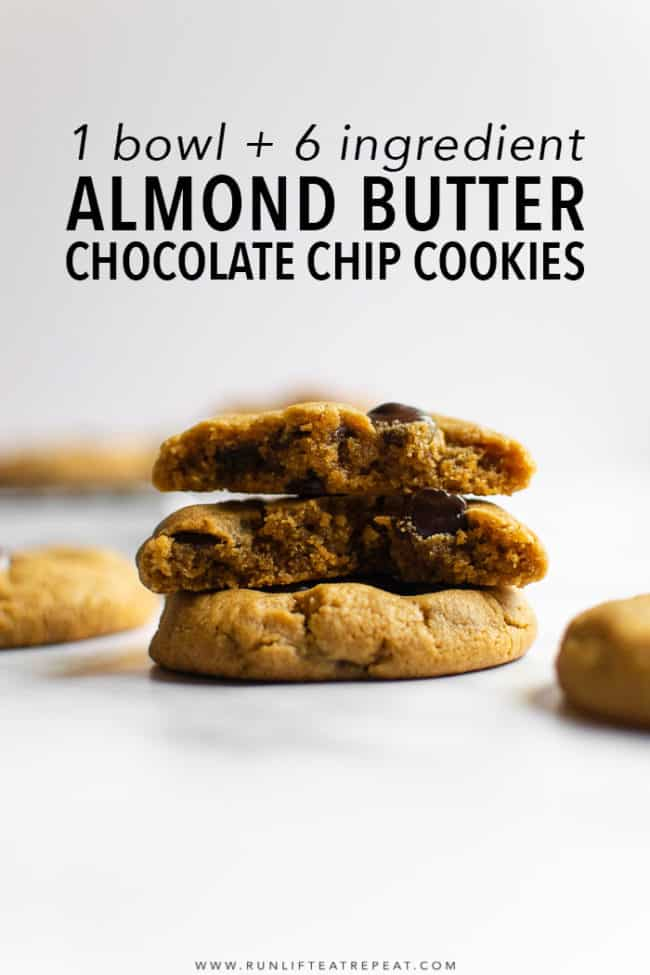 With just 6 ingredients and only 15 minutes to make— these gluten-free almond butter chocolate chip cookies couldn't be easier! #cookies #almondbutter #glutenfree #peanutbutter #flourless #easy