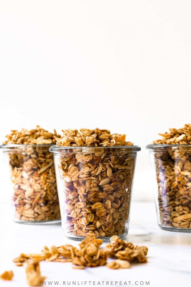 Slightly sweet, healthy, wholesome, feel-good vanilla almond granola. Ditch the store-bought, homemade granola is easier than you think using pantry ingredients!