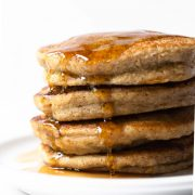 Start your mornings right with these banana oat pancakes. Made with ingredients in most kitchens and in a blender. The flavor and texture is out of this world!