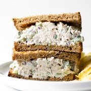 Thischicken salad recipeis easy to make, just one bowl, and ready in minutes. Perfect on crusty whole grain bread or with crackers. You'll never want store-bought again!
