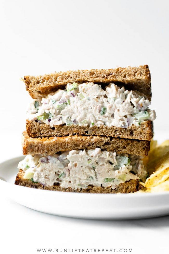 This chicken salad recipe is easy to make, just one bowl, and ready in minutes. Perfect on crusty whole grain bread or with crackers. You'll never want store-bought again!