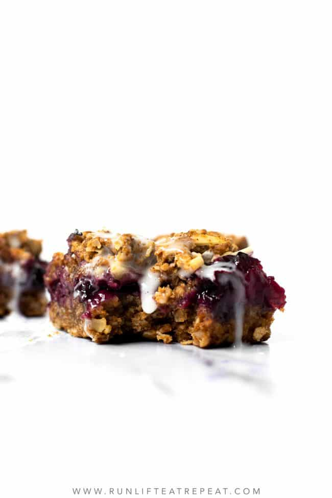 These mixed berry streusel bars are made with wholesome ingredients like oats, nut butter, and pure maple syrup. The crust and crumble topping are made from the same mixture so there's less bowls to clean! And the lemon glaze takes them up a notch!