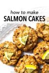 This salmon cake recipe recipe combines the flavors of lemon, parsley, and garlic but the most flavor is from the salmon. For best texture, the recipe has little filler and is baked in a very hot oven.