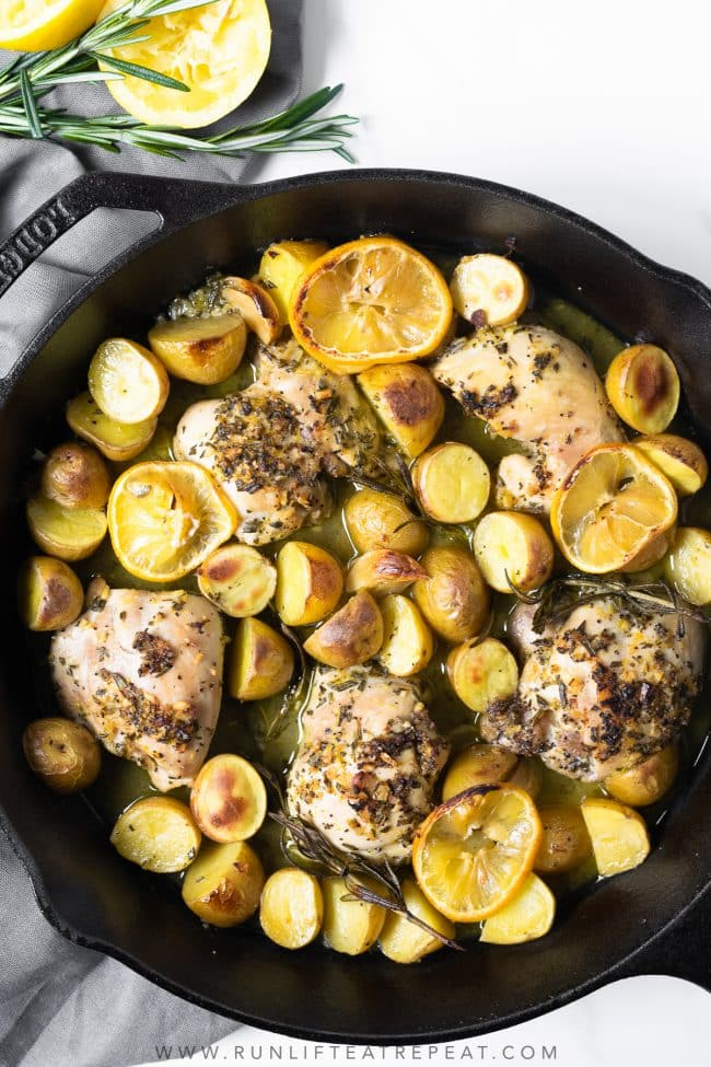 This easy lemon rosemary chicken and potatoes takes two basic dinner ingredients to the next level— all in one pan and on the table in 40 minutes!