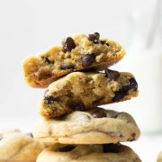 These big fat soft-baked chocolate chip cookies are thick and slightly crispy around the edges. The secret for the chewiest chocolate chip cookie texture is more brown sugar than granulated sugar, an extra egg yolk, plus a little cornstarch!