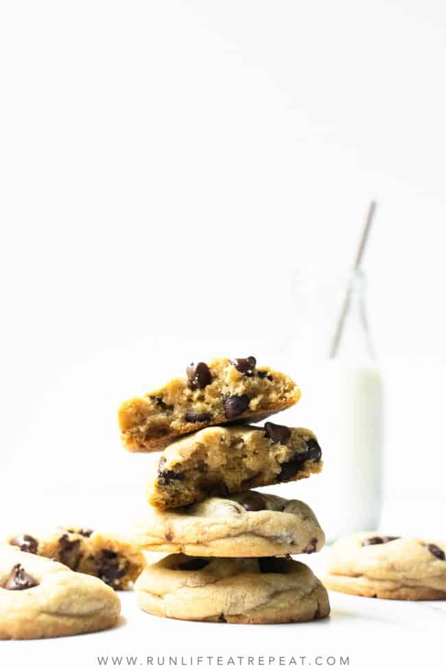 These big fat soft-baked chocolate chip cookies are easy, thick and slightly crispy around the edges. The secret to the chewiest chocolate chip cookie texture is more brown sugar than granulated sugar, add an extra egg yolk, plus a little cornstarch! No chilling required!