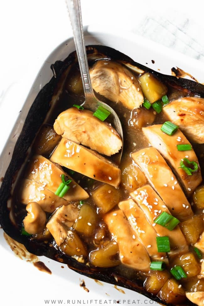 This baked pineapple teriyaki chicken is one of the most popular recipes for two reasons— it's a quick and easy dinner recipe and it's lip-smacking delicious! Ready in just 30 minutes, this dinner recipe will appear frequently in your dinner rotation.