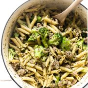 This sausage and broccoli pasta is absolutely delicious. It's not only easy to make, but it's bursting with flavor, feeds a family, and keeps for days in the refrigerator for leftovers!