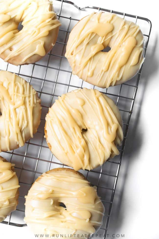 These baked maple frosted donuts are cake-style donuts with a thick, sweet maple frosting. Homemade donuts are a lot easier than you think!