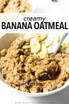 This creamy banana oatmeal is a morning favorite. It's made with old fashioned rolled oats, mashed bananas, chia seeds, oat milk, vanilla extract, and a touch of pure maple syrup. It's the perfect make-ahead breakfast for the week!