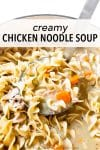 This is my homemade creamy chicken noodle soup recipe. It's a lightened-up version but you'd never know it— family and friends rave about it! It's made in one pot and freezes perfectly!