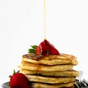 These gluten-free pancakes are light and fluffy, just like all pancakes should be. Load them with the add-ins of your choice!