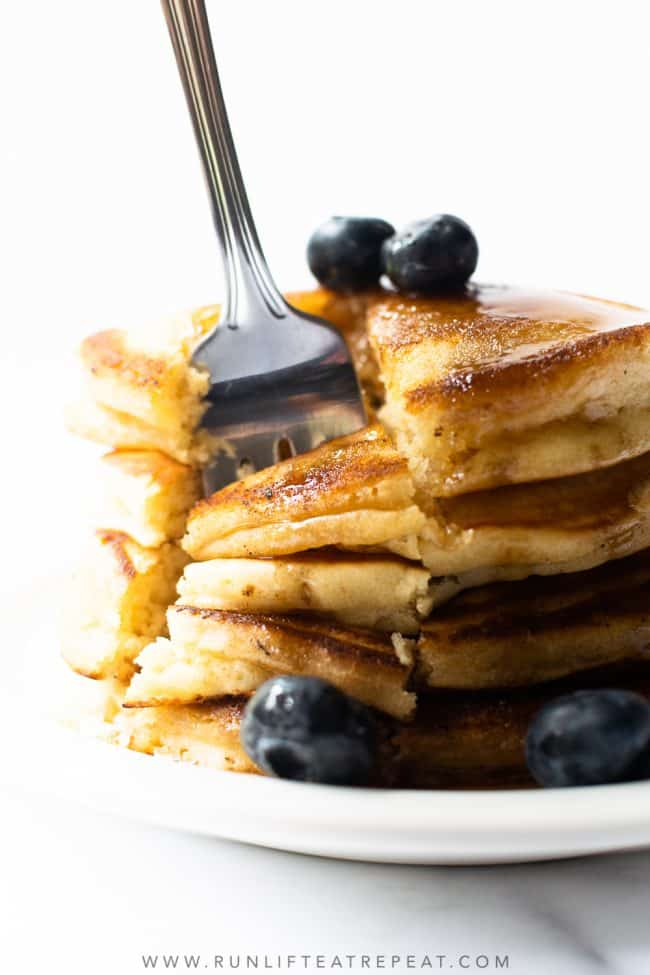 Start your morning with a tall stack of these homemade fluffy pancakes. These pancakes are light and fluffy– thanks to a handful of pantry ingredients. Toss in your favorite add-ins to take them up a notch!