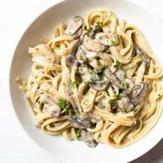 This creamy mushroom pasta recipe is an easy weeknight meal that's ready in just 30 minutes! The mushroom sauce is incredible — it's bright, flavorful, tons of garlic and incredibly creamy.