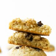These homemade coconut dark chocolate chip cookies have golden crisp edges, soft centers, toasted coconut throughout, and studded with dark chocolate chips. These will be a crowd favorite!