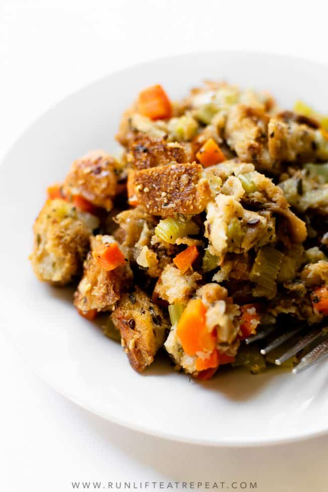 There's no Thanksgiving dish that compares to this homemade stuffing recipe. It's filled with fresh herbs and it's a make-ahead recipe so there's one less dish to worry about the day of!