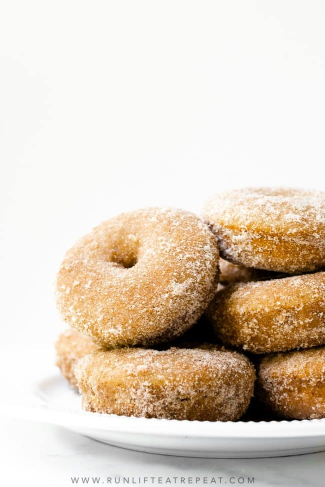 These homemade cinnamon sugar donuts are cakey, dense, perfectly spiced, and baked not fried. These donuts come together quickly and easily— the best recipe for those cold winter weekend mornings!