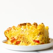 This everything biscuit breakfast casserole combines eggs, peppers, onions, and cheese with buttery biscuits in just one dish! You can use your favorite add-ins too! The best part is that you can prepare it ahead of time for busy mornings!