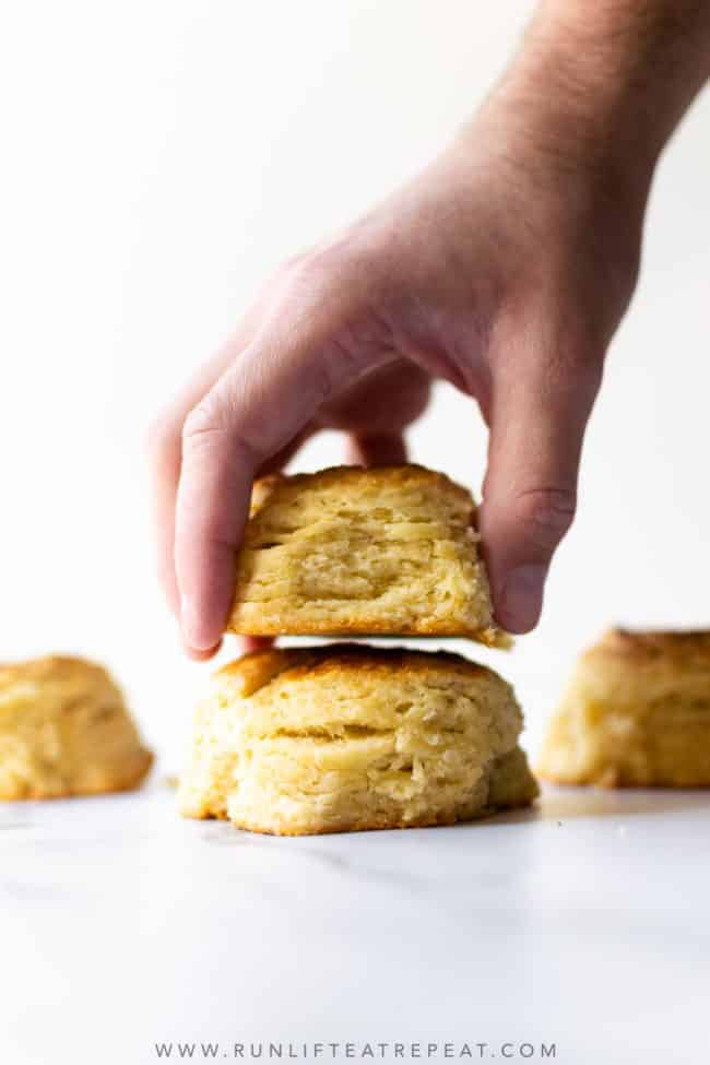These homemade buttermilk biscuits are tender on the inside with crisp edges and full of flavor. This recipe requires only 6 ingredients and ready in about 40 minutes.