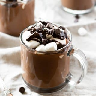 This hot chocolate is ultra creamy, mega chocolate-y and made in a slow cooker— so easy that you can make it anytime! It's a recipe that will be on repeat during the colder months!