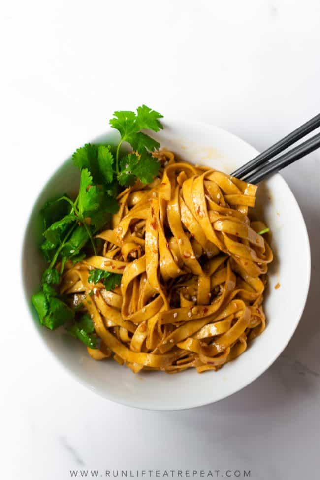 These spicy chili garlic noodles can be made in just 20 minutes and way better than takeout! The spicy garlic sauce has incredible flavor and perfectly spiced. You can easily add chicken or beef to make this a full meal.