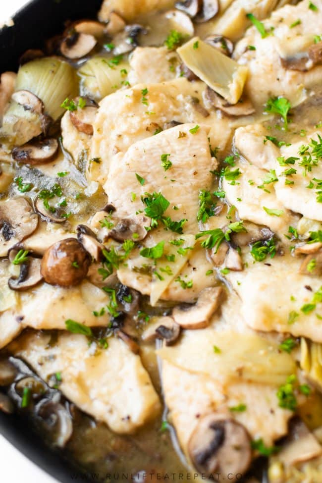 My favorite chicken dinner is this unbelievably delicious chicken piccata. It's a twist on the traditional recipe which takes it up a notch. It's savory, satisfying and the best make-ahead meal!